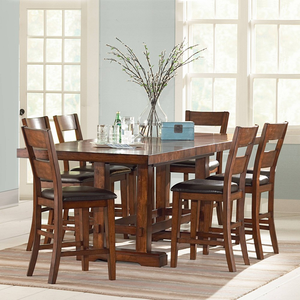 7pc Dion Counter Height Dining Set Cherry (Red) - Steve Silver