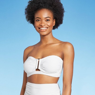 Women's Textured Bandeau Bikini Top - Kona Sol™ Fresh White