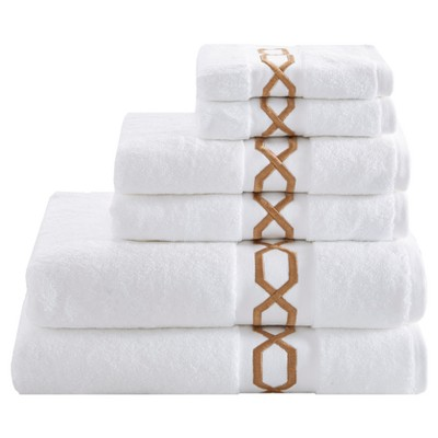 Circuit Cotton Embroidered Solid Towel Set 6pc Taupe