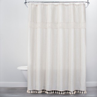 Solid Crochet with Tassels Shower Curtain White - Opalhouse™