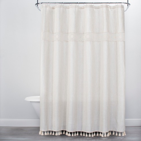 Solid Crochet With Tels Shower Curtain Tan Opalhouse