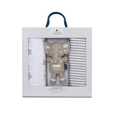 Living Textiles Bento Gift Set Gray Swaddle + Theodore - 2pk