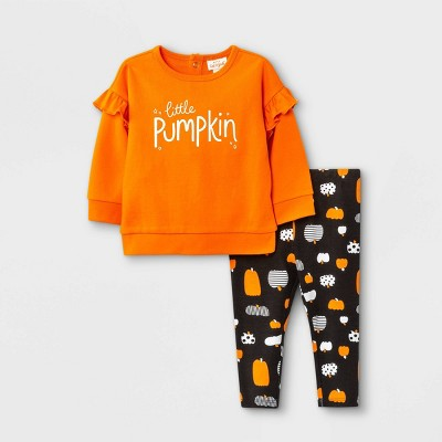 Baby Girls' 2pc Pumpkin French Terry Long Sleeve Sweatshirt & Bottom Set - Cat & Jack™ Orange 0-3M