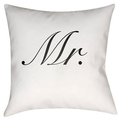 White Couple Mr Throw Pillow 18 x18  - Surya