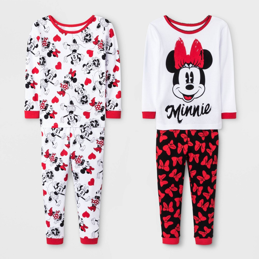 Image of Baby Girls' 4pc Minnie Mouse Pajama Set - White/Red 18M, Girl's, Red/White