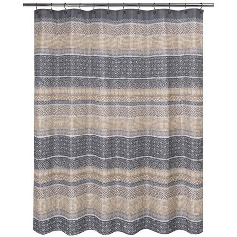 Kente Shower Curtain Beige Gray