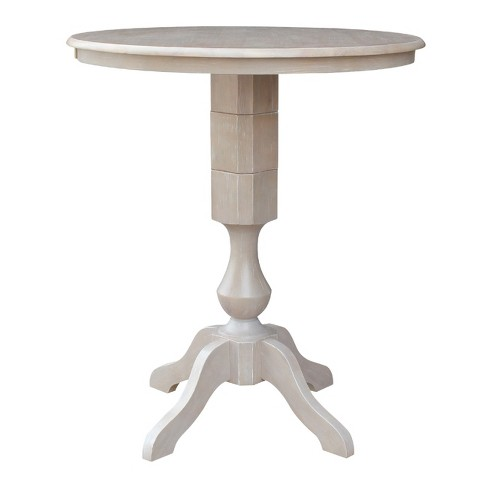 Excellent 36X36 Solid Wood Round Pedestal Bar Height Table Washed Gray Taupe International Concepts Caraccident5 Cool Chair Designs And Ideas Caraccident5Info
