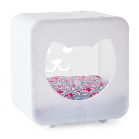 Kitty Kasas Bedroom Cube with Pillow Cat House - White - image 1 of 4