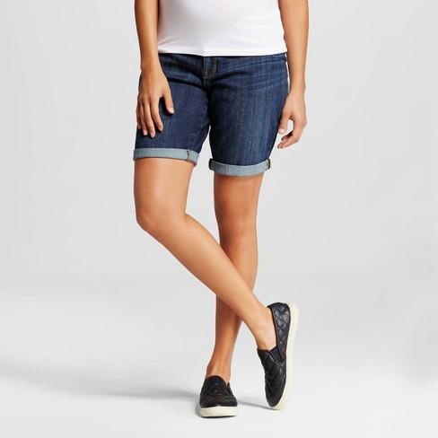 685236272192a Maternity Inset Under The Belly Bermuda Jean Shorts - Dark Wash S - Liz  Lange® For Target : Target