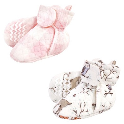 Hudson Baby Infant and Toddler Girl Quilted Booties 2pk, Enchanted Forest