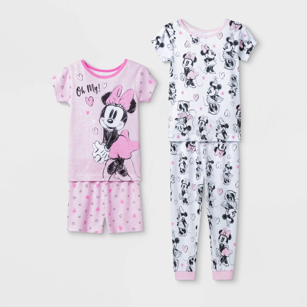 Image of Baby Girls' 4pc Disney Minnie Mouse Pajama Set - Pink 12M, Girl's