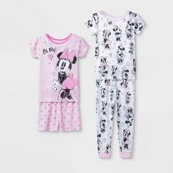 Toddler Girls' 4pc Disney Minnie Mouse Pajama Set - Pink