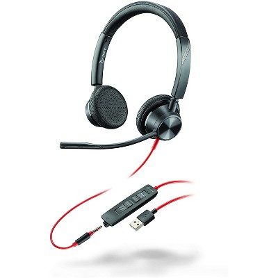 Plantronics Blackwire 3325 - Wired, Dual-Ear (Stereo) Headset with Boom Mic - USB-A / 3.5mm to Connect to Your PC and / or Mac - Works with Teams (Certified), Zoom & More