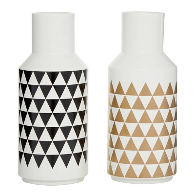 Set of 2 Modern Ceramic Bottle Vases with Patterns - Olivia & May
