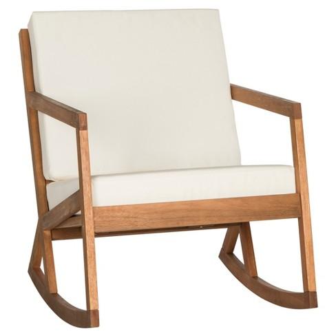Vernon Rocking Chair - Teak Brown / Beige - Safavieh - image 1 of 3