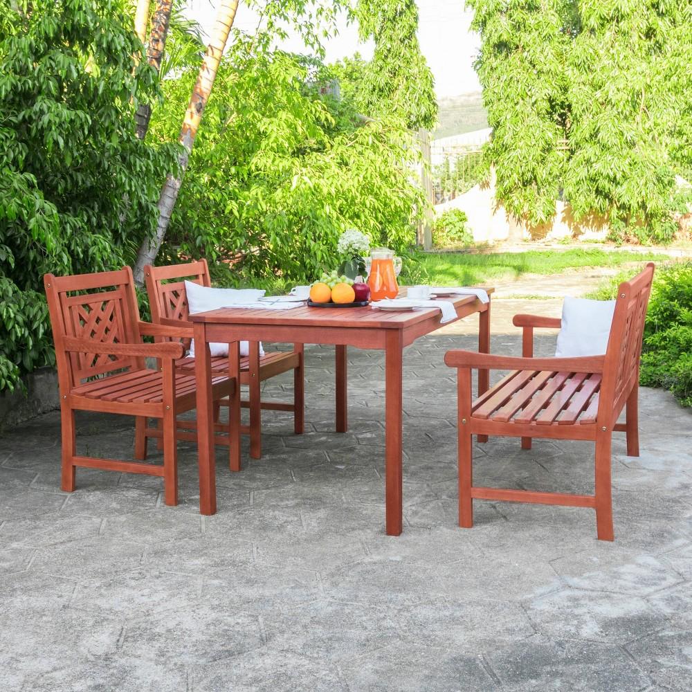 Malibu 4pc Rectangle Wood Outdoor Patio Dining Set - Tan - Vifah