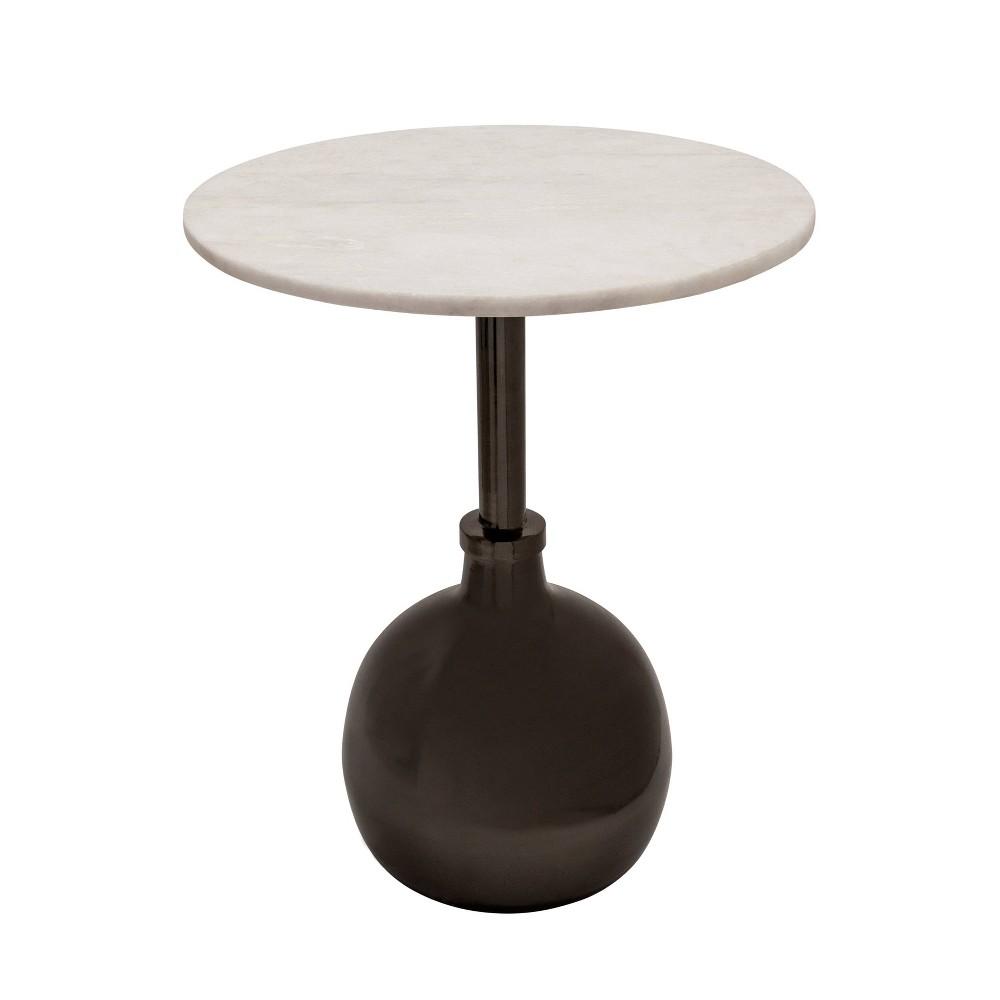 22 34 Metal Side Table With Orb Base Gunmetal Sagebrook Home