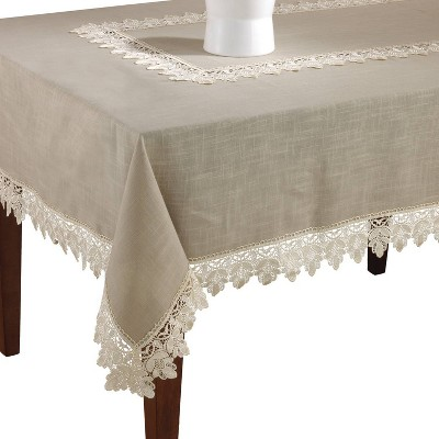 Taupe Lace Trimmed Tablecloth (65 x120 )- Saro Lifestyle