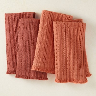 4pk Cotton Napkins Red/Coral - Opalhouse™ designed with Jungalow™