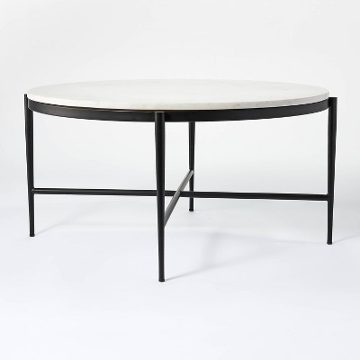 Pleasant Grove Round Marble Coffee Table White - Threshold™ designed with Studio McGee