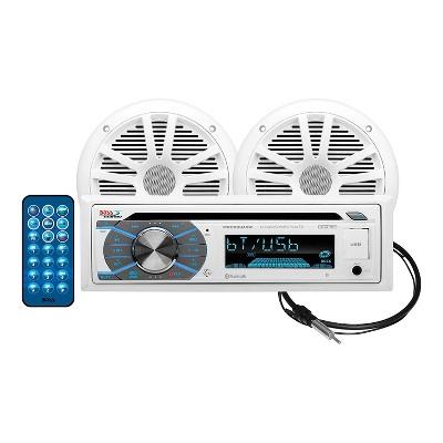 BOSS Audio MCK508WB.6 Waterproof Marine Bluetooth CD Player Stereo Receiver Sound System with 1 Pair of 6.5 Inch 180 Watt Full Range Speakers, White