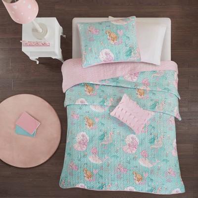 Livia Printed Coverlet Aqua/Pink