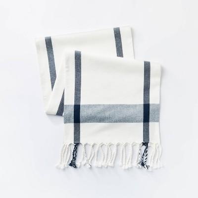 "72"" x 14"" Cotton Plaid Table Runner Cream – Threshold™ designed with Studio McGee"