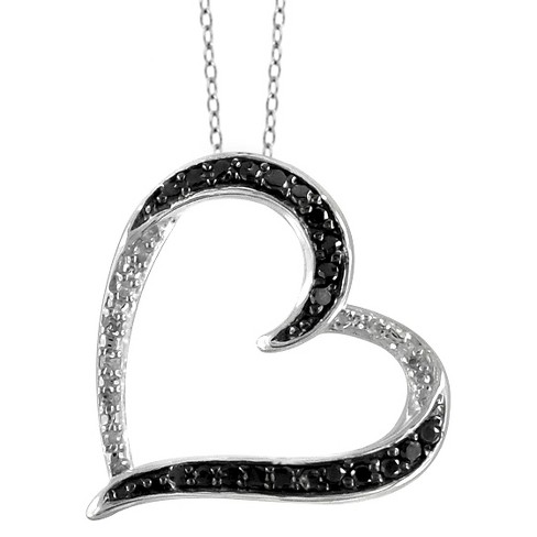 "1/10 CT. T.W. Round-Cut Black and White Diamond Pave Set Heart Pendant (18"") - image 1 of 2"