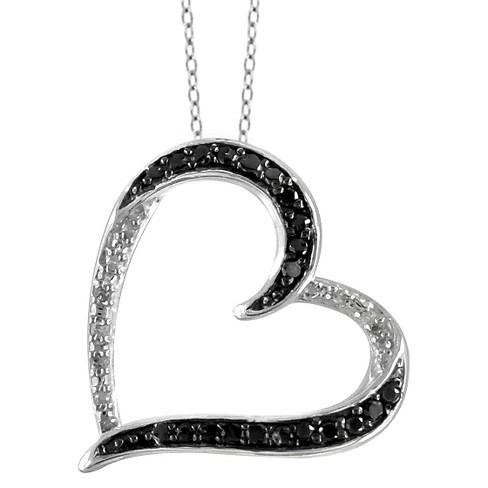 "1/10 CT. T.W. Round-Cut Black and White Diamond Pave Set Heart Pendant - White (18"") - image 1 of 2"