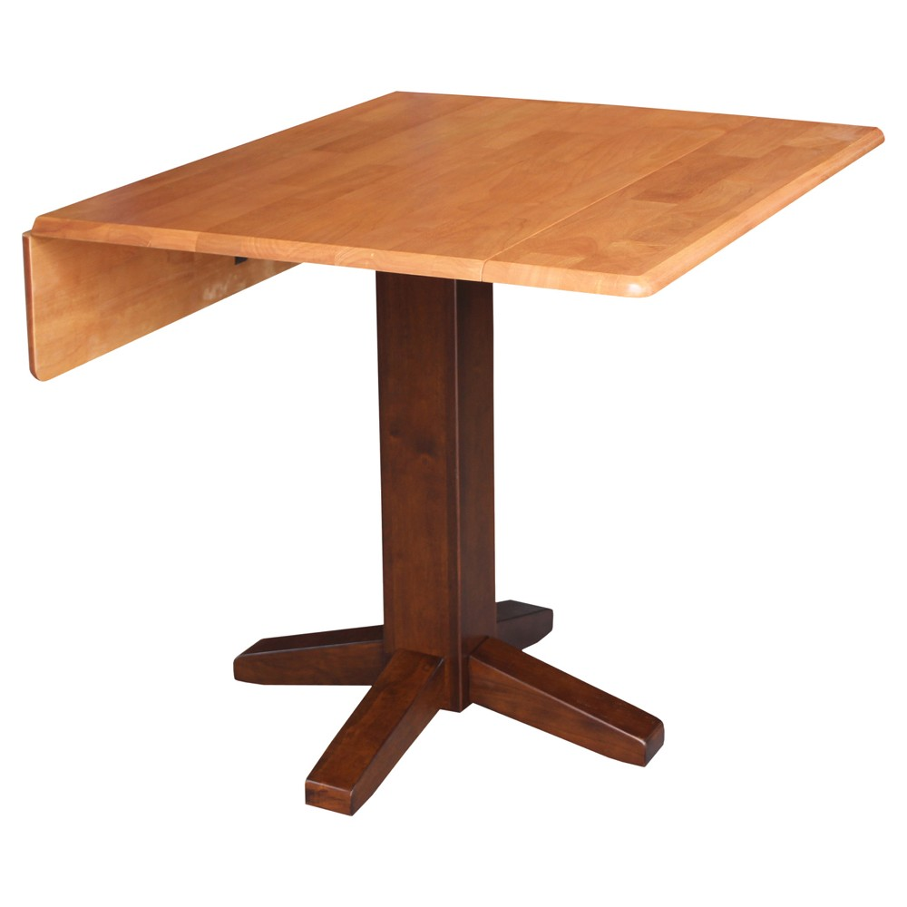 Sanders 36 Square Dual Drop Leaf Dining Table - Cinnamon/Espresso - International Concepts, Caramel