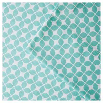 Lita Print Microfiber Sheet Set (King)Aqua