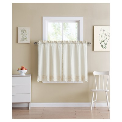Jenna Kitchen Curtain Tier Ivory (60 x24 )- VCNY Home®