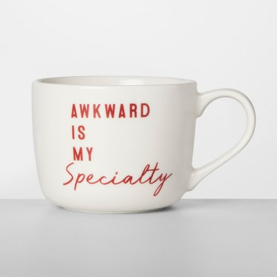 14oz Porcelain Awkward Is My Specialty Mug White/Red - Opalhouse™