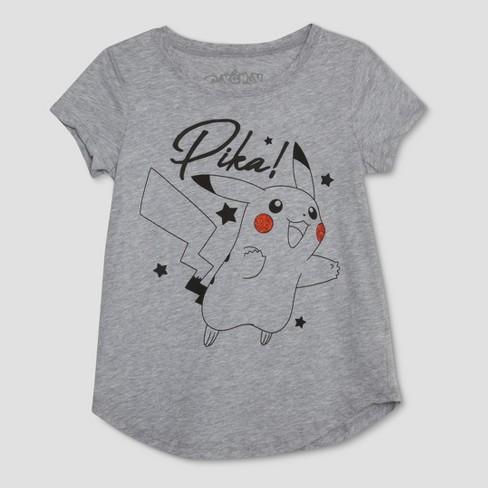 4cdfc52f Girls' Pokemon Pikachu Short Sleeve T-Shirt - Gray : Target