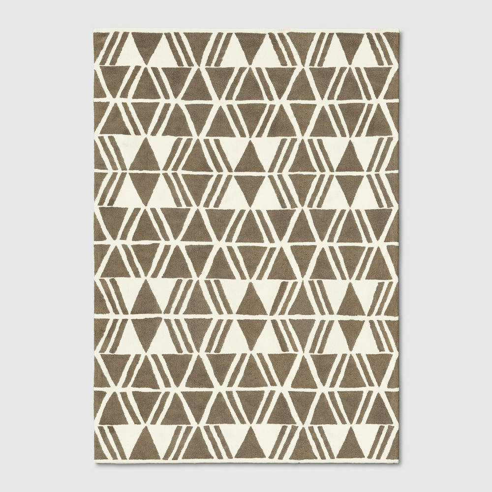 7'x10' Geometric Tufted Area Rug Linen - Project 62