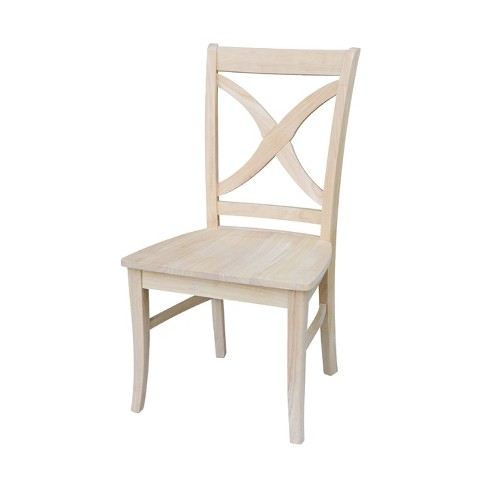 Set of 2 Vineyard Curved X Back Chair Unfinished - International Concepts - image 1 of 4