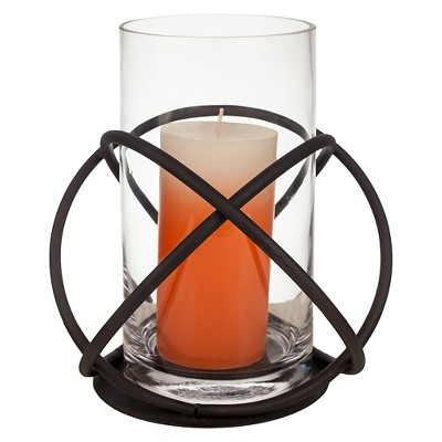Metal & Glass Single Candle Holder Black - Danya B®