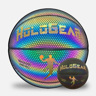 HoloGear HGMMBBP Patented Holographic Glowing Reflective Leather Regulation Size Basketball for Indoor and Outdoor Play, 29.5 Inch, Ages 14 and Up