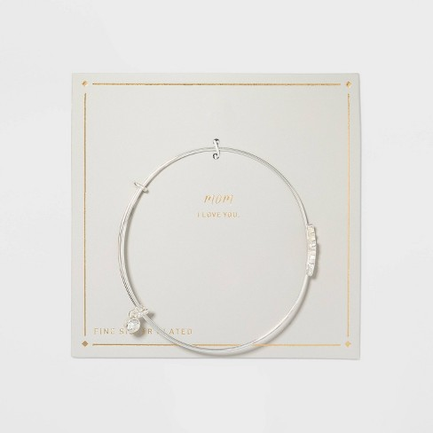 Silver Plated Thin Expandable Mom Bangle Bracelet - Silver - image 1 of 2