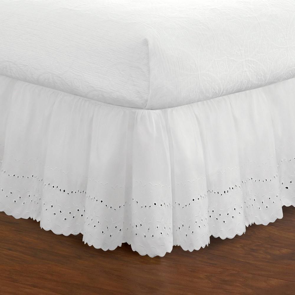 Image of Fresh Ideas California King Ruffled Eyelet Bed Skirt White