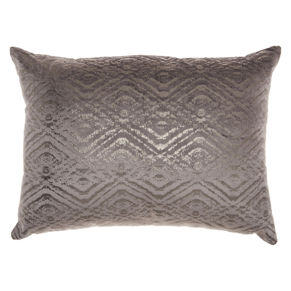 Luminecence Metallic Diamonds Lumbar Throw Pillow Dark Gray - Mina Victory
