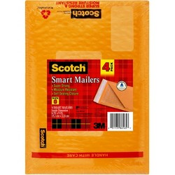 Scotch Poly Bubble Mailer, Yellow, 6 in x 9.25 in, Size #0, 4-Pack