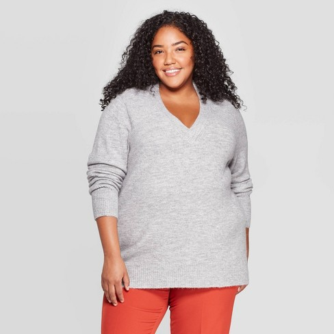 Women's Plus Size Oversized Long Sleeve V-Neck Tunic Sweater - A New Day™ - image 1 of 3