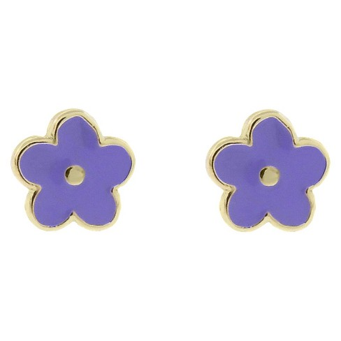 ELLEN 18k Gold Overlay Enamel Flower Stud Earrings - Lavender - image 1 of 1