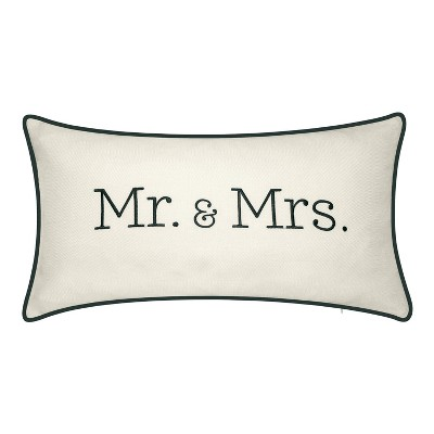 "13""x25"" Celebrations Mr. & Mrs. Embroidered Lumbar Throw Pillow Oyster/Black - Edie@Home"