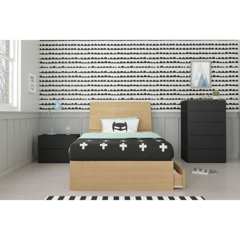 4pc Twin Parody Bedroom Set Natural Maple/Black - Nexera - image 1 of 4