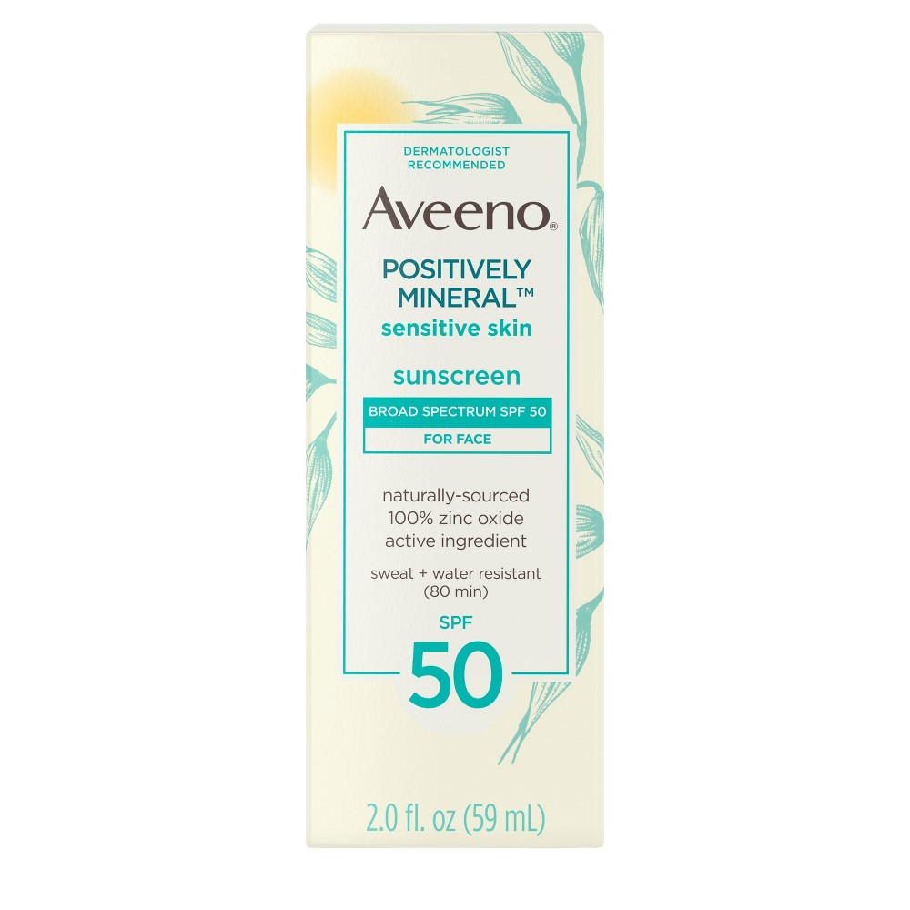 Image of Aveeno Positively Sensitive Skin Mineral Sunscreen - SPF 50 - 2 fl oz