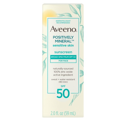 Aveeno Positively Sensitive Skin Mineral Sunscreen - SPF 50 - 2 fl oz - image 1 of 4