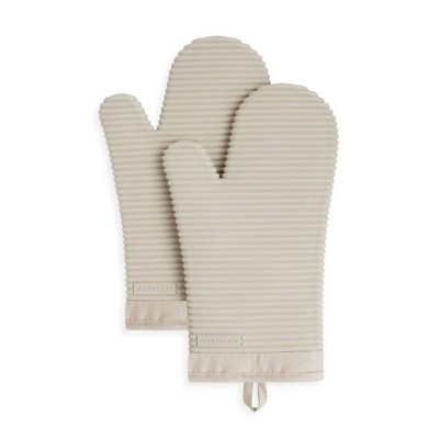KitchenAid 2pk Silicone Ribbed Oven Mitts Tan
