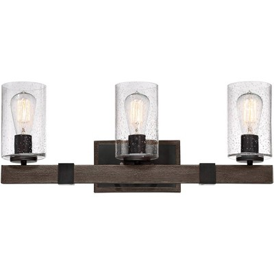 "Franklin Iron Works Rustic Farmhouse Wall Light Bronze Wood Grain 23 1/2"" Wide 3-Light Fixture Seedy Glass Bathroom Vanity"